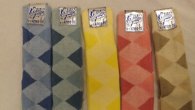 Vtg 5 Pr Lot 70's Argyle Knee High Socks Assorted Colors sz 9-11 NOS USA made