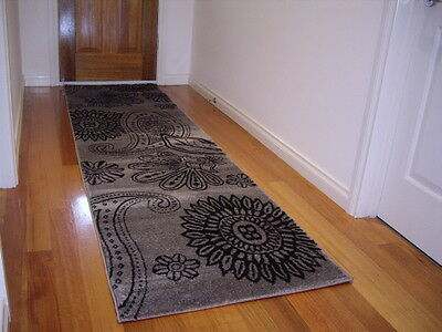 Premium Quality Hall Runner Patterned Designer Grey 300cm Long FREE DELIVERY