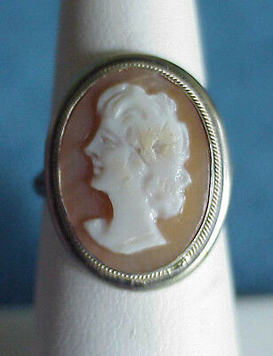Lovely Vintage Italian Signed 800 Solid Silver Size 6 1/2 Hand Carved CAMEO Ring