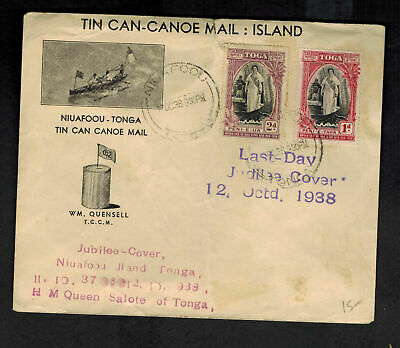 1938 Tonga Toga Tin Can Canoe Mail Illustrated Last Day Jubilee Cover