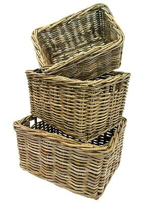 e2e Grey Kubu Rattan Wicker Strong Deep Storage Shelf Display Kindling Basket
