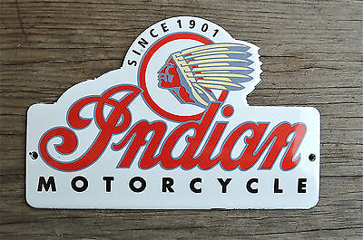 Heavy quality porcelain advertising sign Indian motorcycles garage plaque shaped