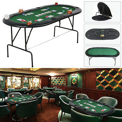 Large Foldable 8 Player Poker Table Top with Chip Trays & Drink Holders