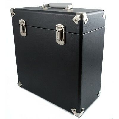 "Black Record Case 12"" Vintage Style Storage DJ Carry Flight Box Vinyl Albums LPs"