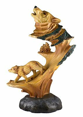 Wolf Carved Wood Look Figurine Resin 9 Inch High New In Box