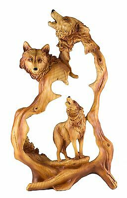 Wolf Howling Carved Wood Look Figurine Resin 12.25 Inch High New In Box