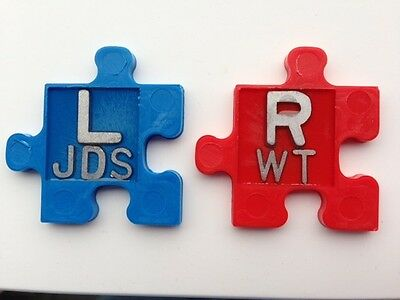 1 Set of Custom PUZZLE PIECE X-Ray Marker Set Jigsaw Red & Blue **LOOK**