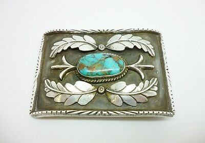 Superb Vintage Native American Solid Silver Turquoise Belt Buckle Signed MD