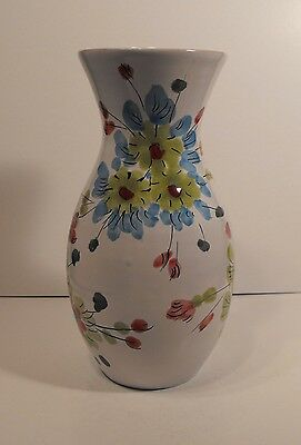 Vintage  Italian Art Pottery Italy 510 Colorfully  Hand Painted Floral Vase