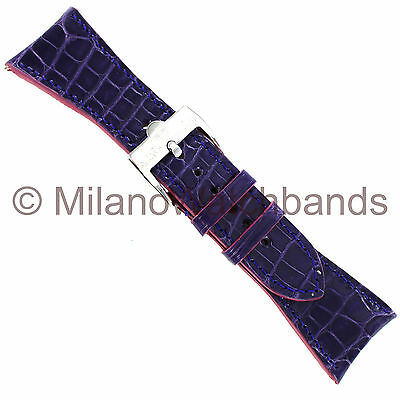 26mm Glam Rock High Quality Hand Made Purple Genuine Alligator Curved Watch Band
