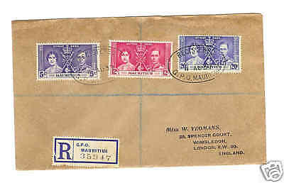 1937 Mauritius Coronation  registered Cover to London