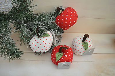 Gisela Graham Country Folk Spotty Fabric Padded Apple Home Decor (set of 4)