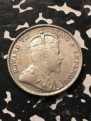 1910-B Straits Settlements 10 Cents Lot#6279 Silver! Nice!