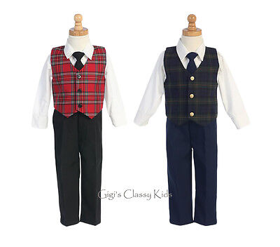 New Boys Plaid Vest Suit Kids Baby Toddler Christmas Holidays Party Wedding 565