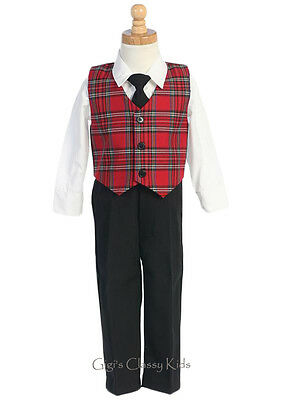 New Baby Toddler Kids Boys Red Plaid Vest Suit Christmas Holidays Wedding 565