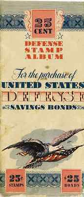 Partial 1942 WWII 25 Cent Stamp Album United States Defense Savings Bonds $1.50