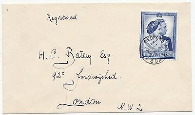 * 1948 SILVER WEDDING £1 STAMP BEDFORD ROW LONDON FDC 26th APR REGISTERED COVER