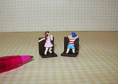 "Miniature Resin Children's ""Hide and Seek"" Bookends  DOLLHOUSE Miniatures 1/12"