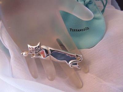 Vintage Tiffany & Co. 1984 Pearl Cat Sterling Silver Brooch/Pin