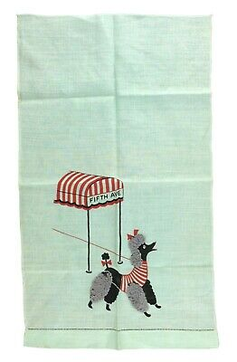 Cute Mint Green Vintage 1940s 1950s Radio? Scarf Fifth Avenue Awning with Poodle