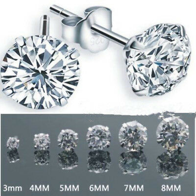 Women Men Fashion 925 Silver Plated Cubic Zirconia Round Stud Earrings 3-8 mm
