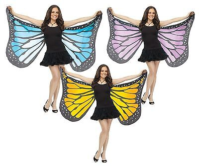 Adult Soft Cloth Fabric Butterfly Blue Purple Orange Wings Costume Accessory