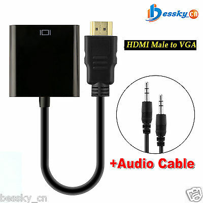 1080P HD HDMI Male to VGA Video Adapter Cable Converter With 3.5mm Audio Out