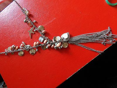 Pretty Pink & Silver Very Long Y Shaped Summer Charm Style Necklace  39