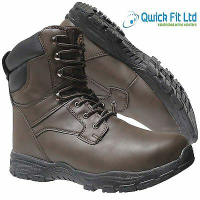 Mens Leather Thinsulate Military Boots Combat Safety Steel Toe Cap Work Shoes