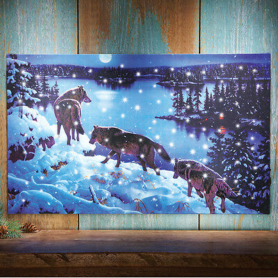 LED Lighted Wolf Pack Wall Canvas Winter Night Snow Scene NEW