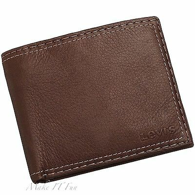 100% Genuine Leather Bifold Wallet Topstitching Levi's Brown Men Purse Bag New