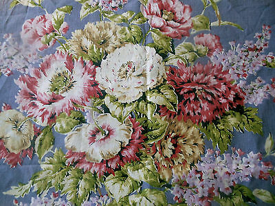 Antique Vintage Shabby Lilac Hibiscus Floral Cotton Fabric ~ Pink Lavender