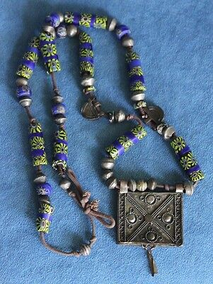 Antique Venetian Millefiori Glass African Bedouin Prayer Box Trade Bead Necklace