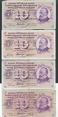 Switzerland Lot of 4 Different 10 Ten Franc Notes