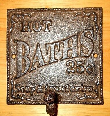 Cast Iron Hot Baths 25c Bath Hook Antique Look Powder Room Coat Bathrobe Hanger