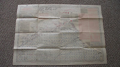 1924 Pilot Chart of the North Pacific Ocean for Navy ships Military Map 26 x 38