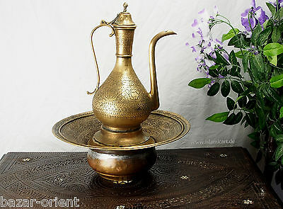 antik Messing Waschgarnitur Afghanistan antique brass Ewer Pitcher & Basin set A
