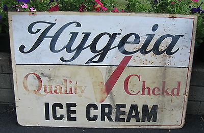 """Antique Metal Double Sided Advertising Sign """"hygeia Quality Cheked Ice Cream """""""
