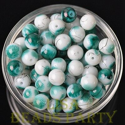 New 20pcs 10mm Round Loose Spacer Glass Beads Bulk Jewelry Making Peacock Green