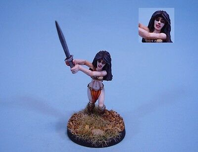 Ral Partha painted miniature female Fighter