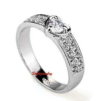 White Gold Plated Engagement Love Heart Ring Made With Swarovski Crystal SR68