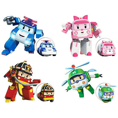 Robocar Poli Car Figure Ambe Roy Helly Robot Transformer Kid Toy Plane Train Box