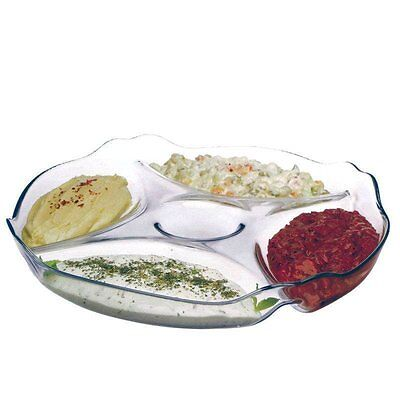 Glass 5 Compartment Round Snack Sweet Sauce Nuts Serving Plate Dish