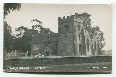 Harefield - St Mary's Church - old Middlesex real photo postcard, plain-backed
