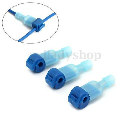 100Pcs Blue Quick Splice Wire Terminals Spade Crimp Cable Connector 16-14AWG