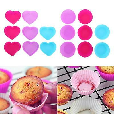 8PCS Silicone Muffin Cup Cake Muffin Cup tour coeur chocolat cuisson moule Neuf