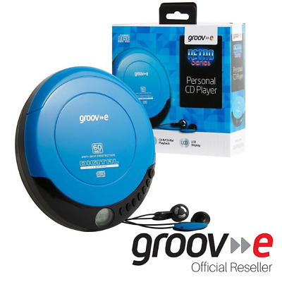 Groov-E Retro Series Personal Portable Cd Player With Earphones - Blue