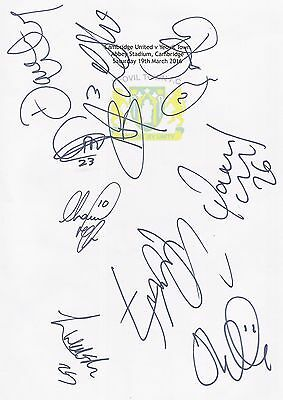 2 A4 white cards with the Yeovil Town Badge. Signed by 20 players on 19.03.2016.