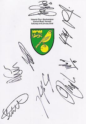 2 A4 white cards with the Norwich City Badge. Signed by 17 players on 02.01.2016