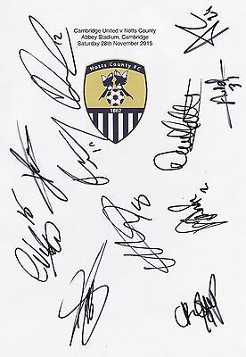 2 A4 white cards with the Notts County Badge. Signed by 21 players on 28.11.15.